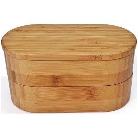 竹製の楕円形二段弁当箱